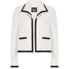 Boutique Moschino Two-Tone Bouclé Jacket (£410) ❤ liked on Polyvore featuring outerwear, jackets, white, white sleeveless jacket, long sleeve jacket, white jacket, two tone jacket and no sleeve jacket