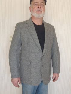 Mens Pure Wool Jacket 44L by Haggar  Gray by FeistyFarmersWife, $38.00