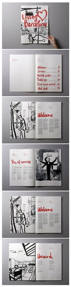 "El palauet ""Living Barcelona"" by Marnich , nice zine layout Layout Design, Design Visual, Graphisches Design, Buch Design, Print Design, Design Ideas, Editorial Design Layouts, Mises En Page Design Graphique, Art Graphique"