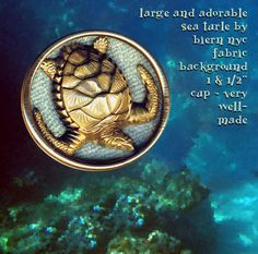 Image Copyright by RC Larner ~ Large Vintage Sam Biern Brass on Fabric in Brass Sea Turtle Button ~ R C Larner Buttons at eBay & Etsy      http://stores.ebay.com/RC-LARNER-BUTTONS and https://www.etsy.com/shop/rclarner