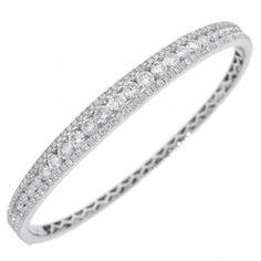 3.50ct 14k White Gold Diamond Bangle - Allurez.com