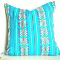 Geometric Decorative Pillow. Tribal. Aztec. African. Bright. 14x14 Inch. Turquoise Blue