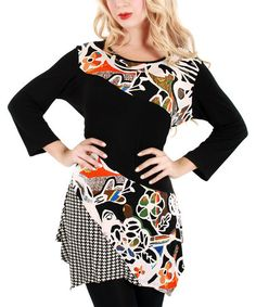 Another great find on #zulily! Black & White Floral Scoop Neck Tunic #zulilyfinds