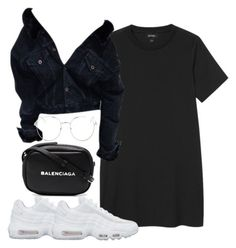 """""""Untitled #5653"""" by theeuropeancloset on Polyvore featuring Monki, NIKE, Topshop and Balenciaga"""