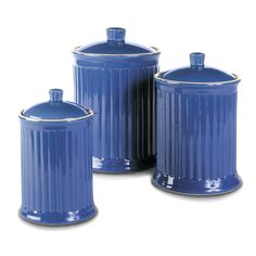 Blue Canister Set Kitchen Food Storage Jars Sets Of 3 Containers Sugar Flour New #CanisterStorage