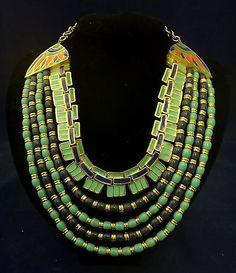 Amazing 1960s Hattie Carnegie Enameled Signed Egyptian Revival Series Necklace   eBay