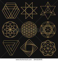 Sacred Geometry. Set of figures with sacred symbols and elements. Vector illustration. Mystical and esoteric forms: Flower of Life, Merkaba, Penrose triangle, pentagram, octagram. Spiritual logo.