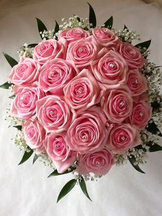 Sweet pink with sliver diamonds in the roses