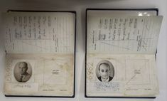 Fake passports that were used in the operation to capture Nazi SS officer Adolf Eichmann, one displaying Eichmann's image, right, are displayed in an exhibition about Eichmann's capture, in the Knesset, Israel's parliament, in Jerusalem, Monday, Dec. 12, 2011.