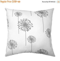 THESE PILLOWS ARE MADE TO ORDER. Please allow 4 business days for processing your order.  Fabric Name - Dandelion - Storm Grey Colors : large storm gray dandelions on a white background  Backing - NOW WITH SAME FABRIC ON BOTH SIDES!  The pillow is filled with a high quality fiber fill & sewn closed Handmade with Premier Prints fabric  Fabrics with large pattern repeats may vary compared to image shown.  Sizes measured seam to seam prior to stuffing  THIS MEANS THE PILLOW WILL APPEAR TO LOSE…