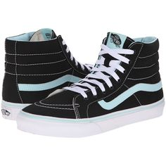 Vans SK8-Hi Slim Black/Blue Tint) Skate Shoes, Black ($45) ❤ liked on Polyvore featuring shoes, sneakers, black, vans sneakers, skate shoes, black high-top sneakers, leather high tops and leather shoes