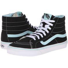 Vans SK8-Hi Slim Black/Blue Tint) Skate Shoes, Black ($45) ❤ liked on Polyvore featuring shoes, sneakers, vans, black, vans high tops, leather sneakers, black high-top sneakers, high top sneakers and leather shoes