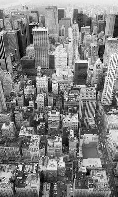 Fotomural Uptown XXL2-021, fotografia vista desde arriba de la ciudad de Nueva York en blanco y negro.