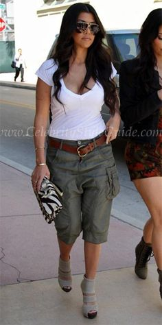 Kourtney Kardashian Style and Fashion - Blank Silky Crop Fatigue on Celebrity Style Guide