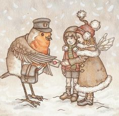 Christmas Fairies and Robin by ~Red--Squirrel on deviantART