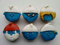 Cupcakes versieren met suikerpasta / Smurfen Cupcakes Amor, Wedding Cakes With Cupcakes, Fondant Cupcakes, Cute Cupcakes, Cupcake Cookies, Healthy Cupcake Recipes, Cupcake Frosting Recipes, Cupcake Recipes From Scratch, Healthy Cupcakes