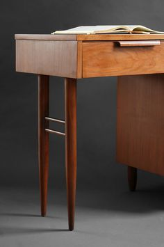 Mid Century Walnut Office Desk - Wood, Modern, Eames, Retro