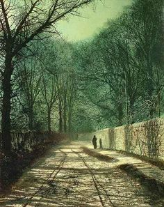 """John Atkinson Grimshaw, """"Tree Shadows in the Park Wall,"""" Roundhay, Leeds, 1872."""