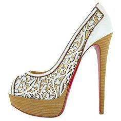 Christian Louboutin Pampas 150mm Leather Peep Toe Pumps White
