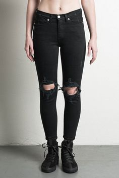 high rise girlfriend jean / black