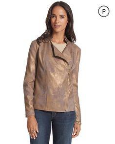 Chico's Petite Faux-Leather Metallic Moto Jacket #chicos