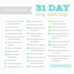31 Day Blog Challenge – March Edition