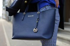 High Quality Michael Kors Jet Set Saffiano Travel Medium Blue Totes Sale With High Quality And Inexpensive!