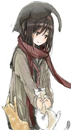 this really reminds if Mikasa from Attack on Titan. The scarf, black hair, and the hair cut. #CatGirl #CatAnime