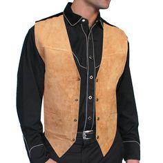 Mens Bourbon boar suede dress western vest by Scully Mens Western Vest, Western Shirts, Western Wear, Cowboy Western, Cowboy Vest, Wedding Vest, Butch Fashion, Cowboys Shirt, Down Vest