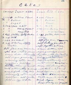 cake recipes | from my grandmother's ledger...written by my … | Flickr