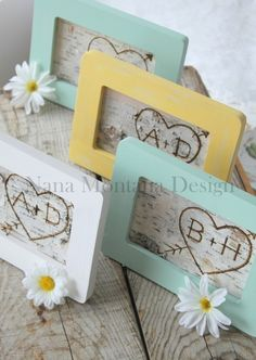 Your initials carved into birch bark and framed! So