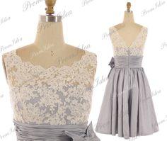 Lace Bridesmaid Dress Cheap Prom Dress Short Lace Prom Dresses Taffeta Bridesmaid Dresses Party Dress Wedding Dress Formal Gown by PromIdea, $139.00