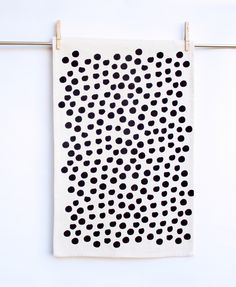 Polka Dot- hand printed black and white, decorative kitchen towel