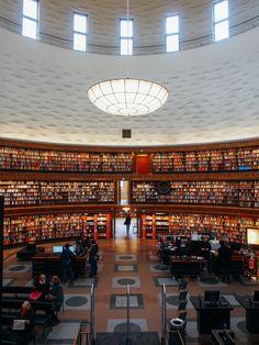 megazal: Stockholms stadsbibliotek, Stockholm (via square(tea)) Scandinavian Architecture, Stockholm, Tumblr, Public, Restaurant, Vacation, Places, Bibliophile, Sweden