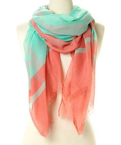 Look what I found on #zulily! Turquoise & Pink Border Scarf by Karma Kreations #zulilyfinds
