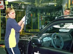 Windshield installation on a Sport Trac or Sport Explorer, Louisville Assembly Plant, 2001