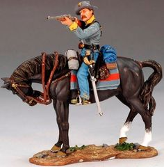 Civil War Confederate CW045 Mounted Confederate Rebel Firing Carbine - Made by King and Country Military Miniatures and Models. Factory made, hand assembled, painted and boxed in a padded decorative box. Excellent gift for the enthusiast.