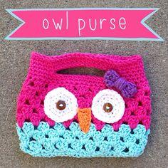 Crochet Owl Purse Little Girl Clutch Wristlet on Etsy, $15.00
