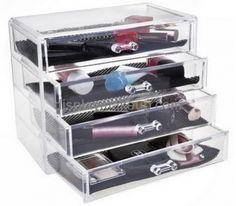 Custom acrylic large makeup case organizer makeup clear box acrylic drawers for makeup DMO-217