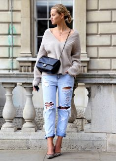 Nordstrom ~ Proenza Sweater, Boyfriend Jeans and cute pumps = Street Style
