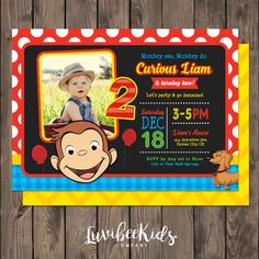 Curious George Invitation with Photo and Backside Image - LuvibeeKidsCo Curious George Party, Curious George Birthday, Second Birthday Ideas, Birthday Fun, Printable Invitations, Curious George Invitations, Circus Party, Birthday Party Invitations, Party