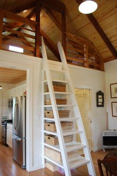 Simple impressive ladder stairs up to loft bedroom | 480 Sq. Ft. Kanga Cottage Cabin with screened porch.