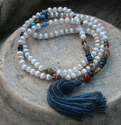 Bel facettes agate - collier de mala howlite pierre gemme