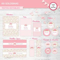 Pin etiquetas para bautizo imprimir gratis hawaii dermatology on kit imprimible candy bar Foto Baby, Ideas Para Fiestas, Candy Table, Party In A Box, Party Printables, Holidays And Events, Girl Birthday, Shabby Chic, Decoupage