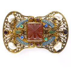 Vintage Art Deco Czech Cornelian Glass Rainbow Paste Filigree Buckle | Clarice Jewellery | Vintage Costume Jewellery