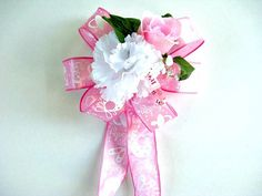 Pink baby gift wrap bow It's A Girl gift bow by JDsBowCreations