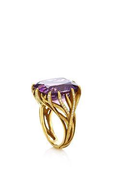 Amethyst And Diamond Vine Ring by Nicholas Varney