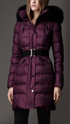 This pretty purple down coat will stand out in a sea of black