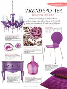 "SPOTTED! In MAKING MAGAZINE  Trend spotter - RADIANT ORCHID   ""Nothing screams luxury more than velvet, and these velvet cushions are the cream of the crop"" - Abi Cox from MAKING Magazine! Thank you choosing us as a top pick! We love it!   Just love velvets!   #velvet #makingmagazine #pr #design #personal #love #tvl"