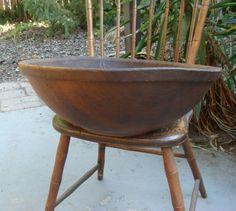 "Huge 20"" diameter 19th C hand turned American mixing bowl  sold   223.00"